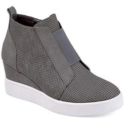 DEARWEN Women's Heel Platform Casual Sneakers Zipper Wedge H