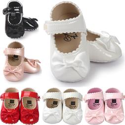 Hot Toddler Girl Crib Shoes Newborn Baby Bowknot Soft Sole P