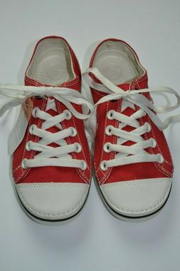 CROCS Hover Lace Up Canvas RED Sneaker Size W/4 NWT