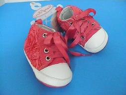Rising Star INFANT Baby GIRL~Pink Satin Roses~Size 1~SNEAKER