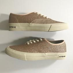 SeaVees for J Crew Legend Sneakers In Rose Gold Glitter Wome