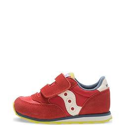 Saucony Jazz Hook & Loop Sneaker , Red/Blue/Lime, 5 M US Tod