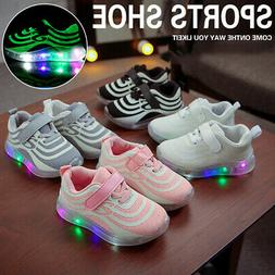 Kids Boys Girls Light Up LED Trainers Sneakers Running Shoes