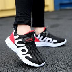Kids Breathable Knit Sneakers Lightweight Mesh Athletic Runn