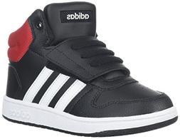 adidas Kids' Hoops Mid 2.0, Core Black/White/Scarlet, 5 M US
