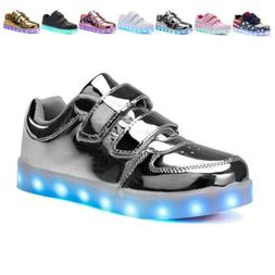 Voovix Kids LED Light up Shoes Shiny Low-Top Sneakers for Bo