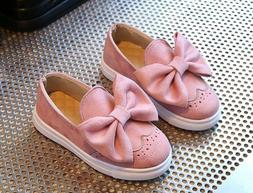 Kids Shoes For Girls Fashion Flock Sport Shoes With Bow Snea