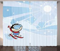 Kids Sports Curtains 2 Panel Set for Decor 5 Sizes Available