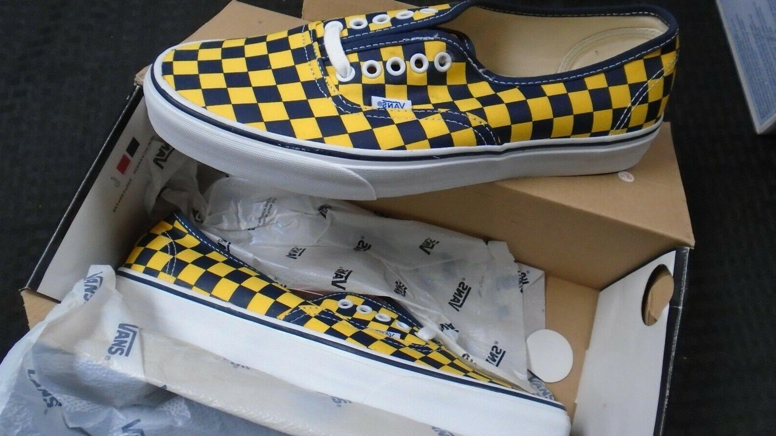 authentic golden coast yellow blue checkered sneakers