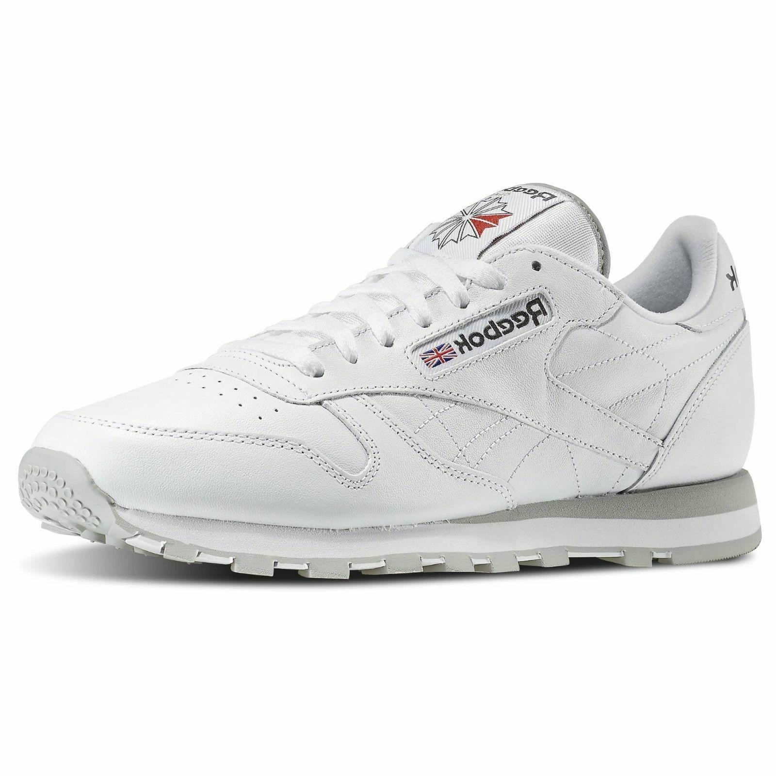 Reebok Classic Leather 101 White Grey Red Mens Shoes Fashion