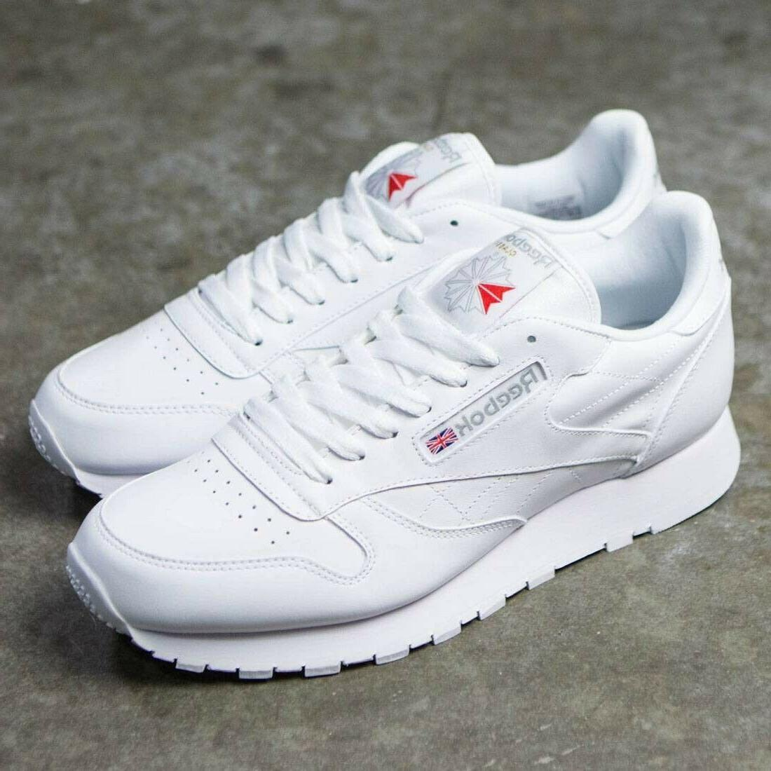 Reebok Classic Leather 9771 White Grey Red Mens Shoes Fashio