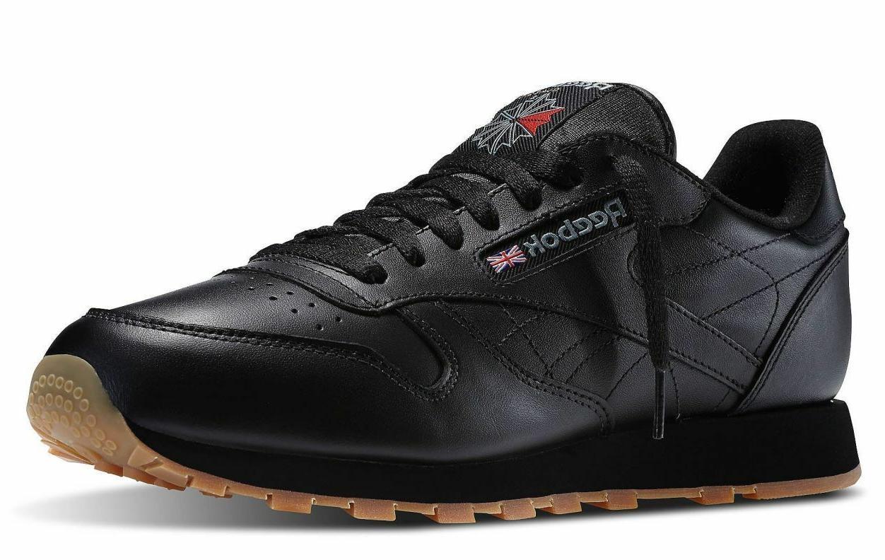 Reebok Classic Leather Black Gum Fashion Mens Shoes Sizes