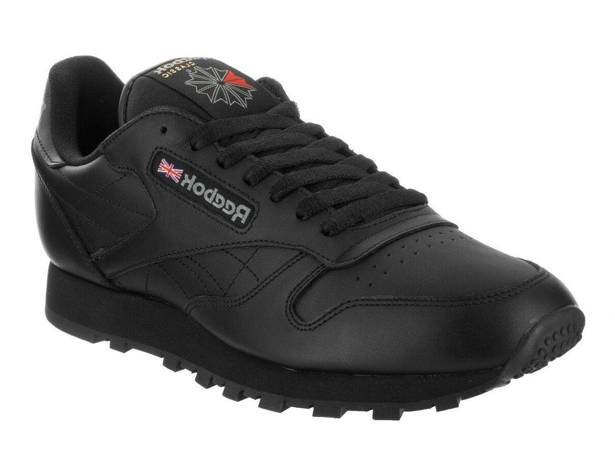 Reebok Classic Leather CL Black Red Fashion Mens Shoes Sneak