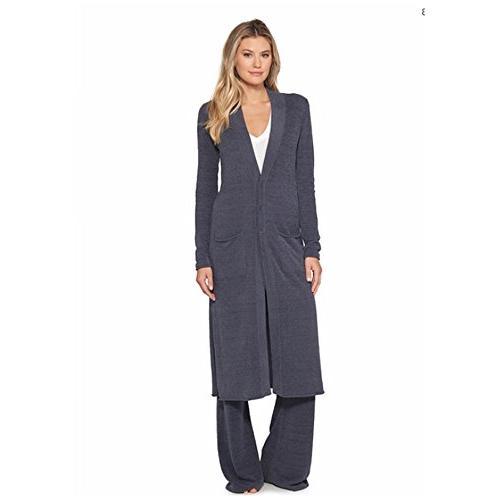 Barefoot Dreams Lite Women's Long Sleeve, Open Maxi Two Pockets Blue