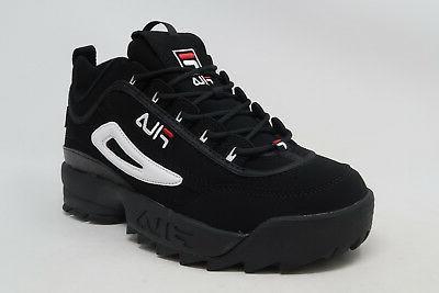 FILA Disruptor II Black Nubuck Lace Up Sneakers