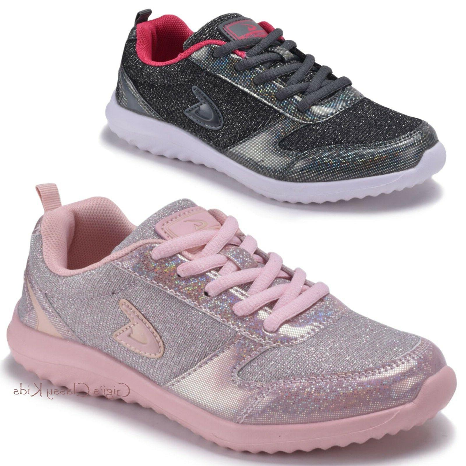 Girls Glitter Sneakers Lace Up Tennis Shoes Kids Youth Athle