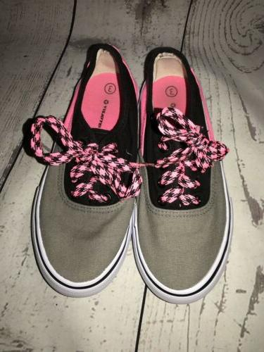 Airwalk Fashion Sneakers Pink/Gray/Black Lace Up Girls Size