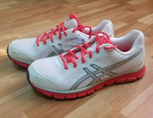ASICS GEL FLASH WHITE RED MESH SNEAKERS WALKING COMFORT WORK