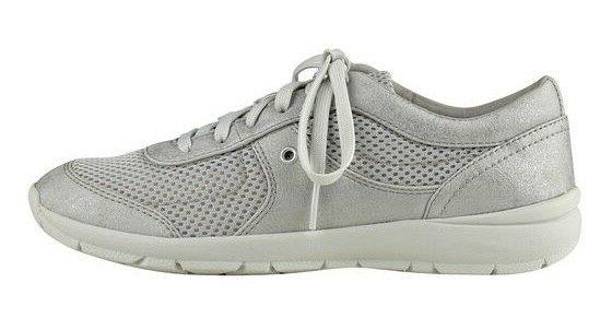 size 8.5 Easy Spirit GoGo Silver Sneakers Womens Lace Up Sho