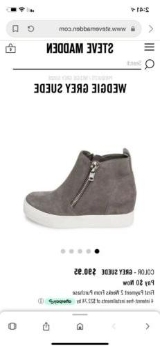 Steve Madden Gray Suede Wedge Sneakers New Without Box Size