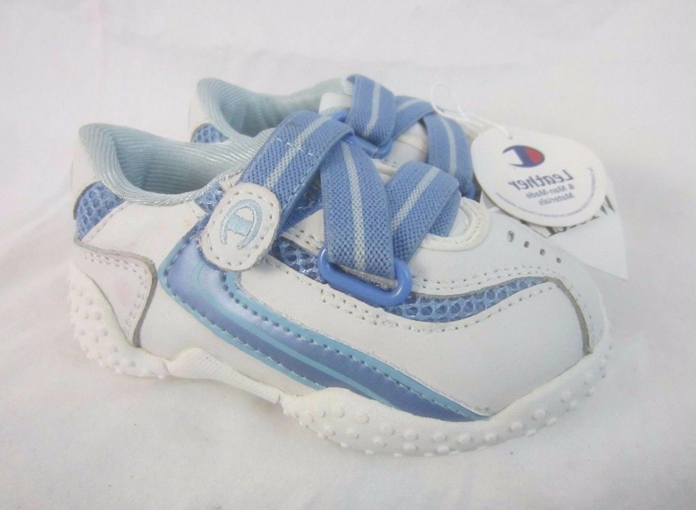 Champion Leather White Blue Baby Boy Sz 4C Wide Hook and Loo
