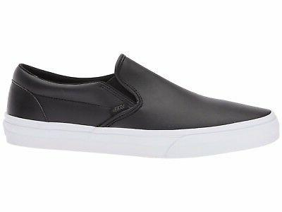 Men's Vans Classic Slip-on Black Leather Fashion Sneakers Al