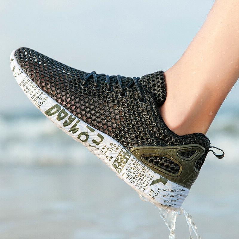 mens water shoes sneakers casual ultralight mesh
