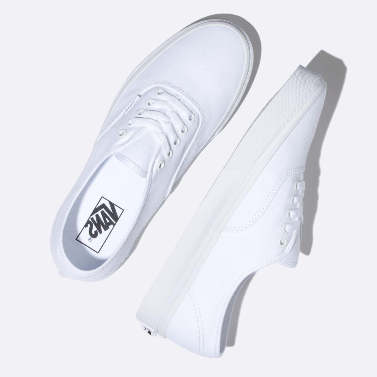 New Men Women Vans New White Canvas Shoes