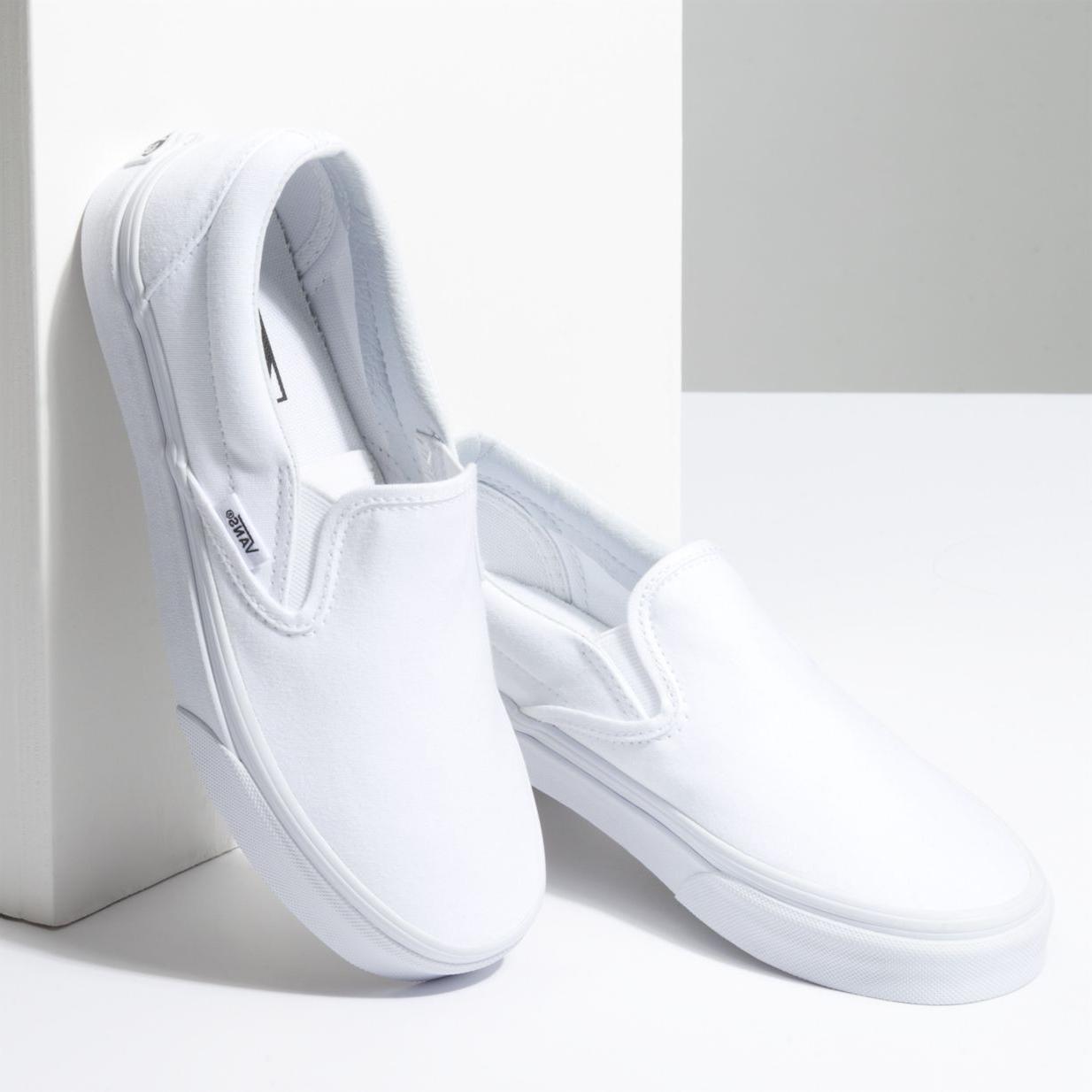 New Men & Women Vans New Classic Slip-On True White Sneakers Canvas