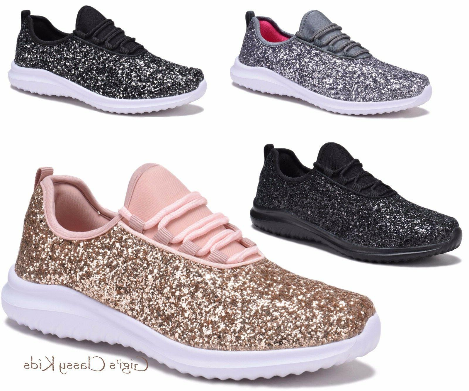 New Women's Sequin Glitter Lace Up Tennis Shoes Fashion Snea
