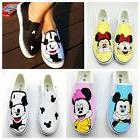 NEW Womens Minnie & Mickey Mouse Slip On Shoes Handpainted S