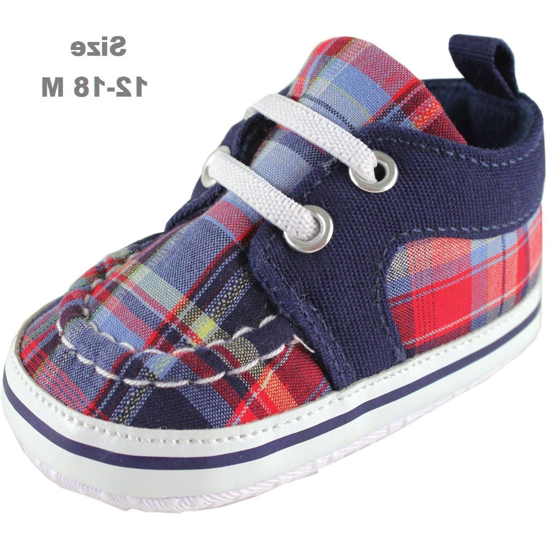 Luvable Friends Newborn Baby Boy Plaid Sneakers size 12-18 M