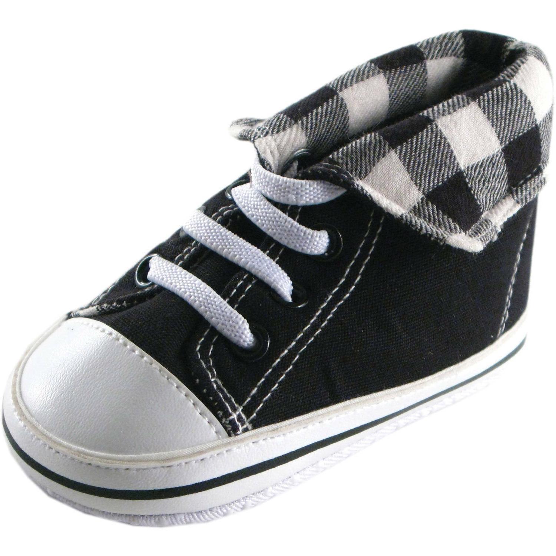 Luvable Friends Newborn Baby Boys Fold-Down Hi-Top Sneakers