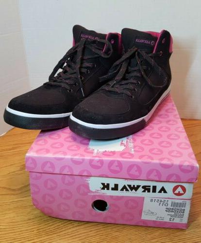 Airwalk NIB pink black high top sneakers 12/45 skater shoes