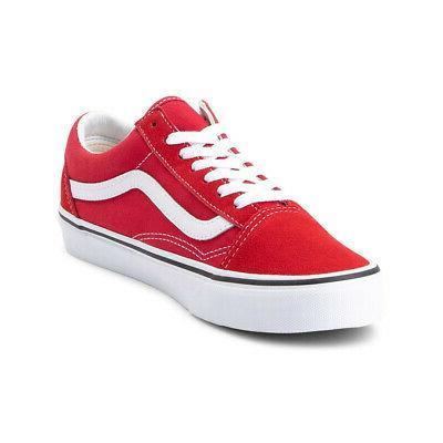 old skool sneakers racing red true white