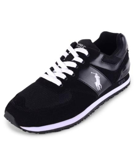Polo Ralph Lauren Men Slaton Pony Sneakers Black White Suede