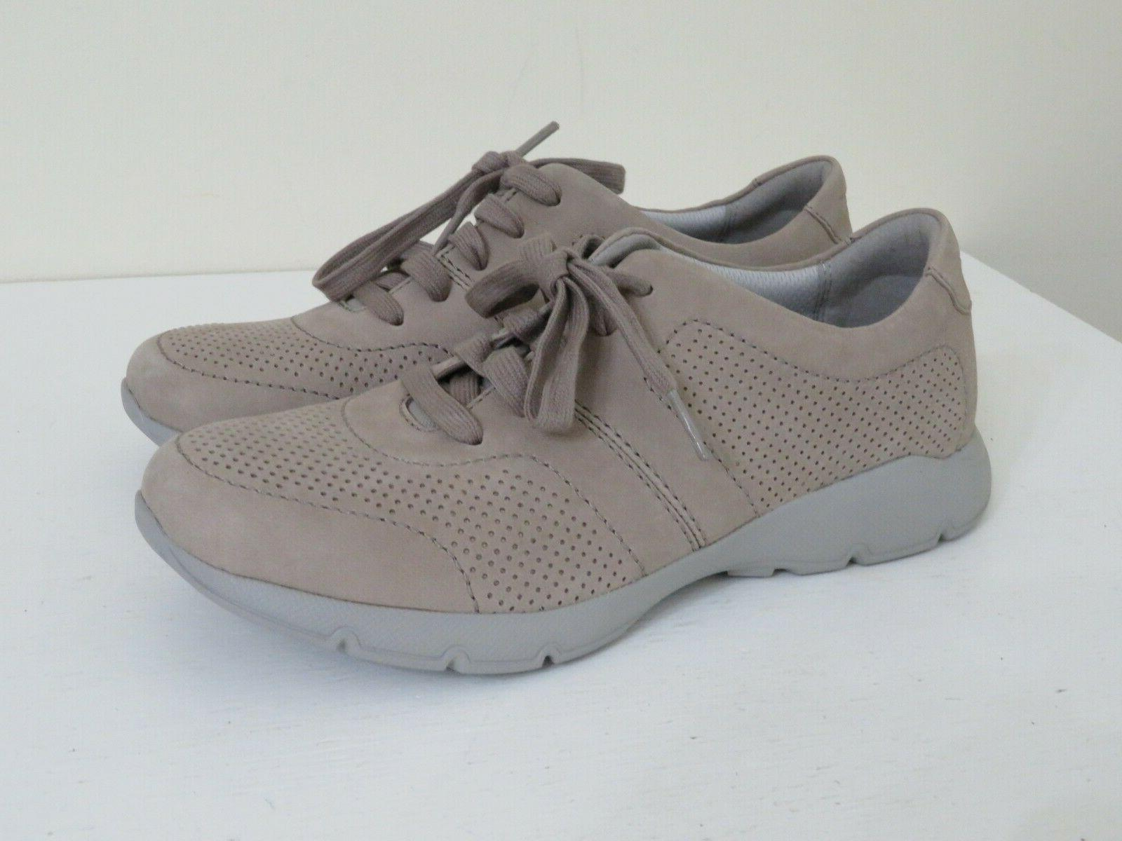 taupe leather lace up sneakers shoes new