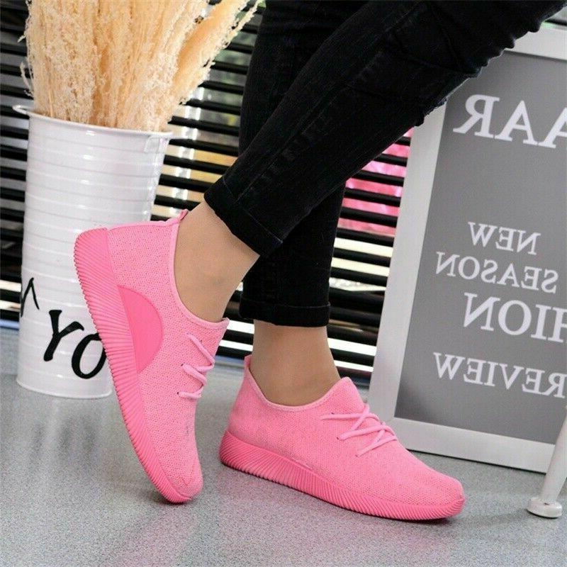 Women Flat Running Sneakers Walking Breathable-Mesh Slip-On Outdoor tennis Shoes