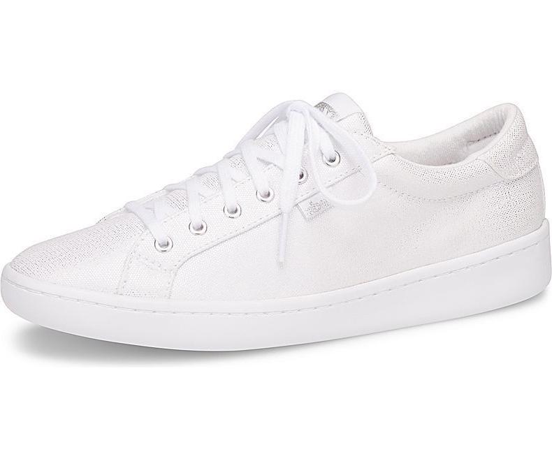 women s ace metallic canvas sneakers white