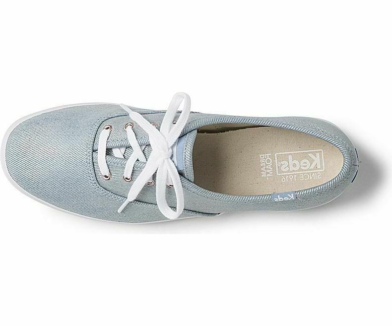 Keds Champion Denim Lace-Up Sneakers Light Blue,