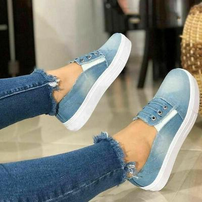 Women's Ladies Denim Loafers Pumps Summer Casual Slip On Fla