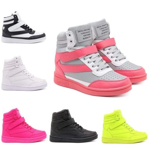 Women's Hidden Wedge Sneakers High Top Athletic Sports Shoes