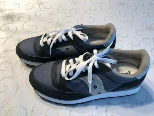 women s jazz blue grey silver sneakers