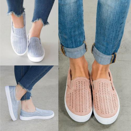 Women Casual Comfort Canvas Shoes Plimsolls Flats Slip On Lo