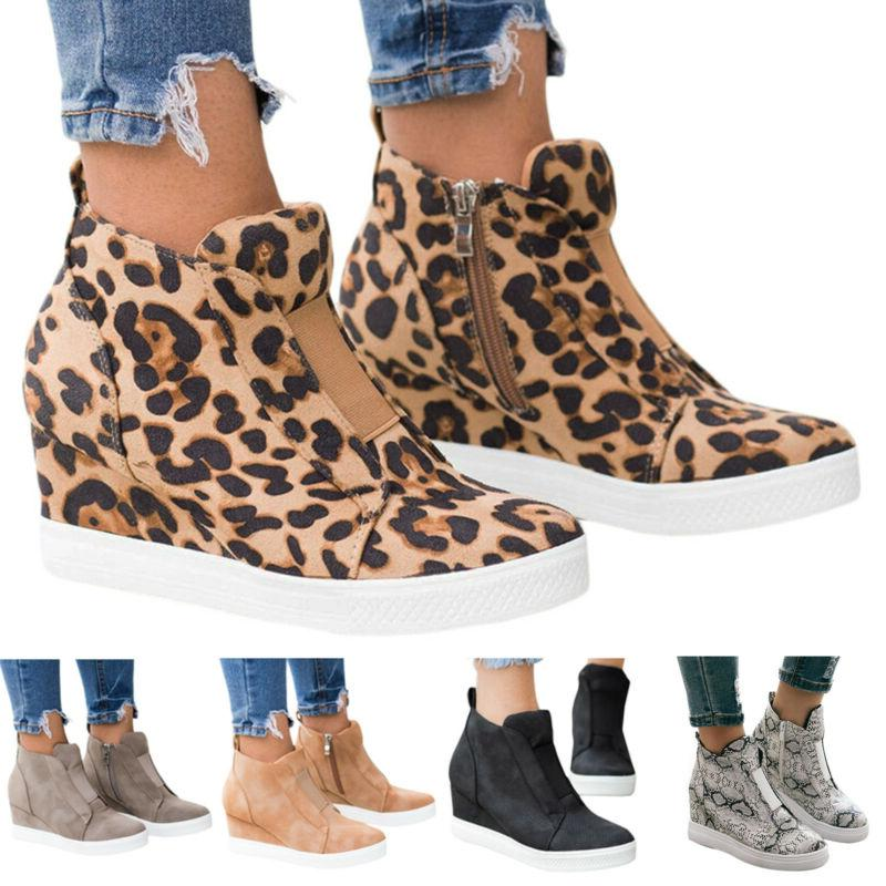 Womens Hidden Wedge Low Mid Heel Ankle Boots Sneakers Traine