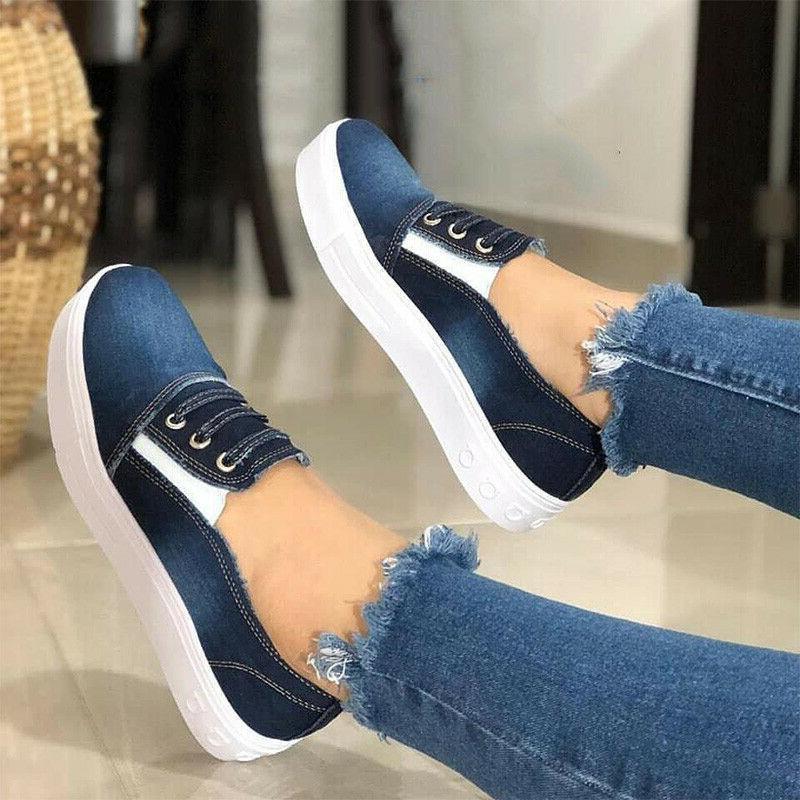 Women Slip Denim Canvas Casual Trainers Sneakers Size