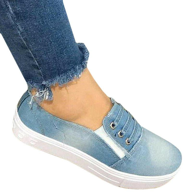 Women Slip Flat Denim Canvas Casual Size