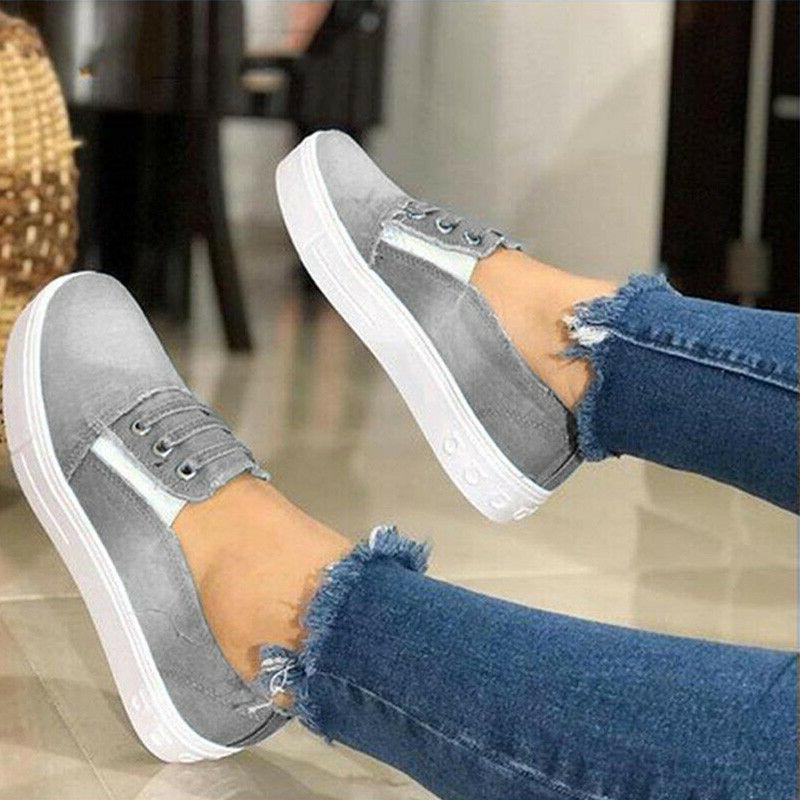 Women On Denim Loafers Casual Sneakers Shoe Size