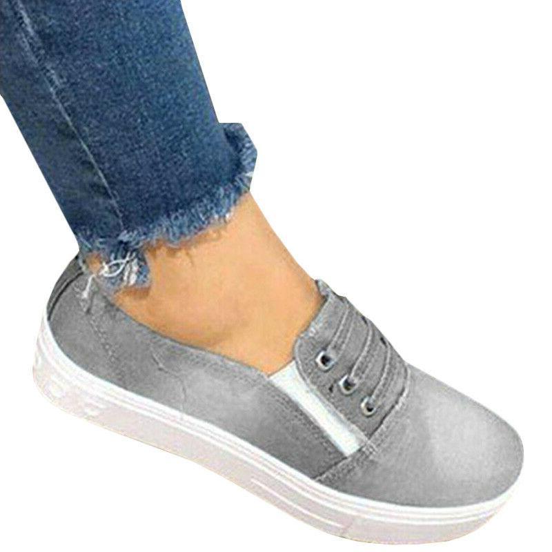 Women Flat Denim Loafers Casual Trainers Sneakers Shoe Size