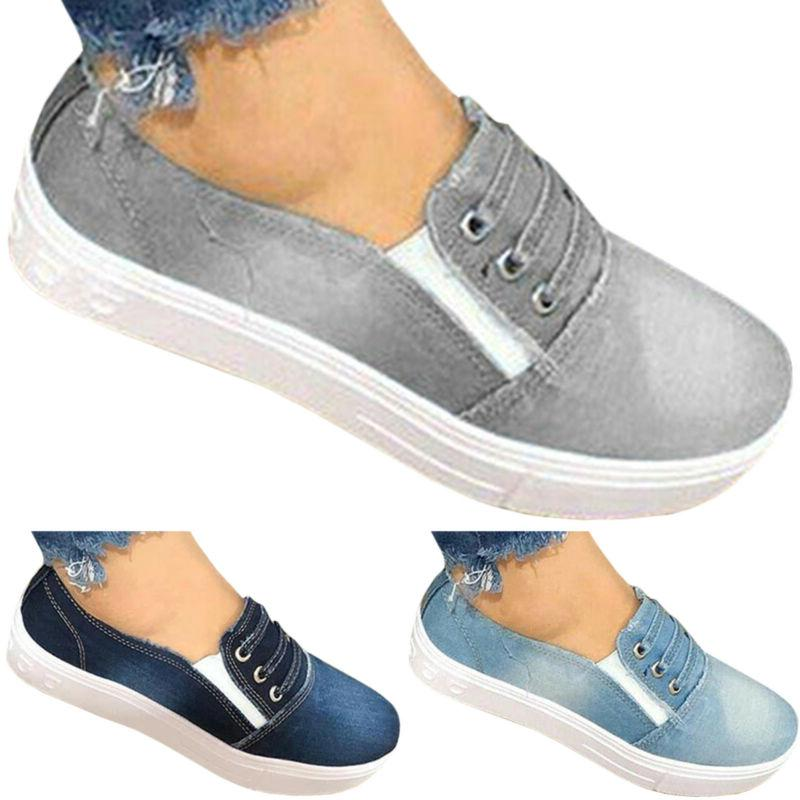Women Slip Denim Loafers Pumps Casual
